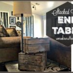 End Table – Stacked Crates with Storage and Lamp