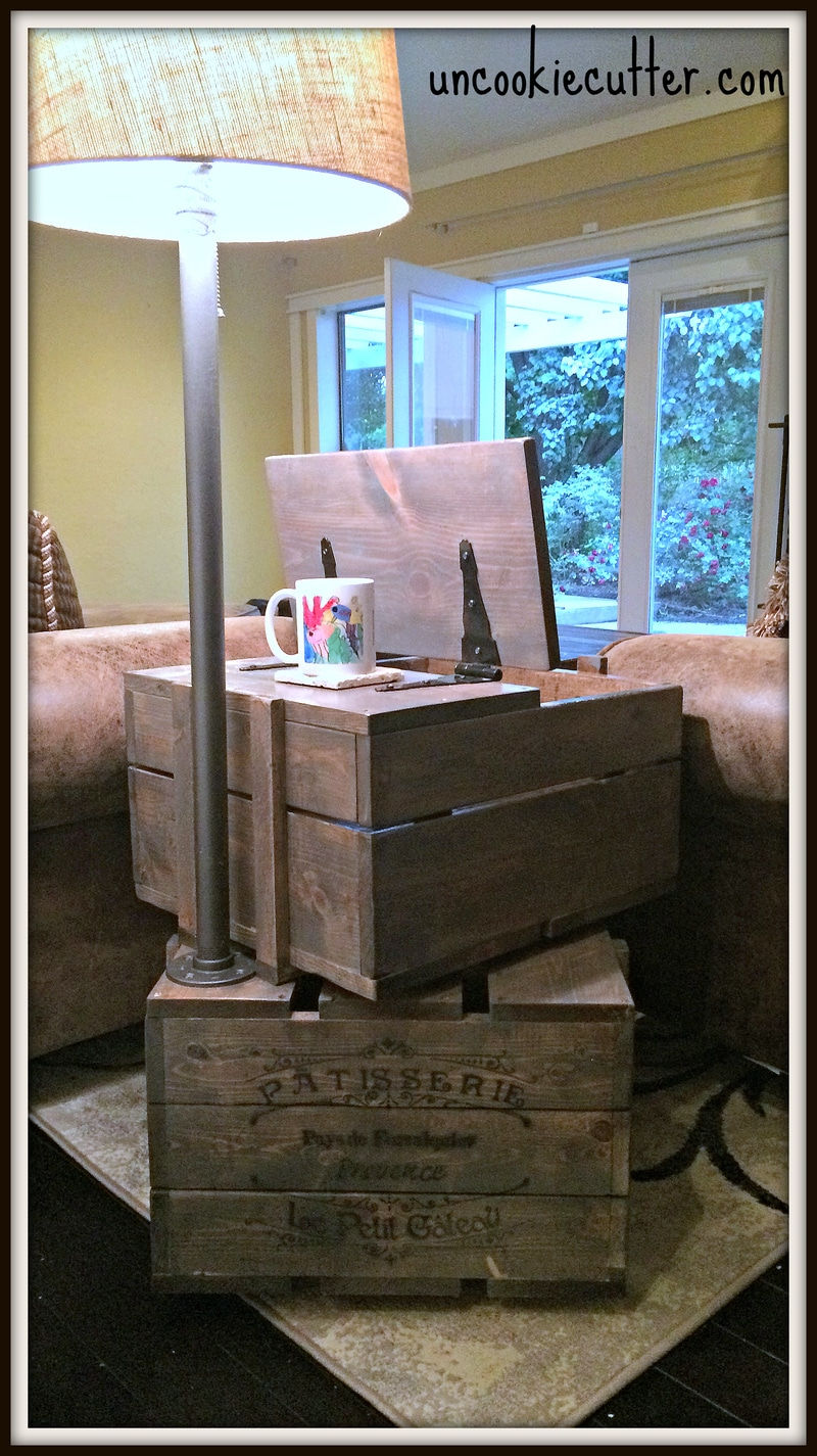 DIY Crate End Table with storage and built in lamp - Http://uncookiecutter.com