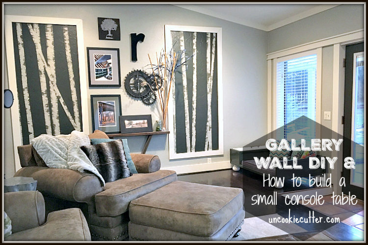 Gallery Wall DIY and How to Build a Small Console Table - UncookieCutter.com