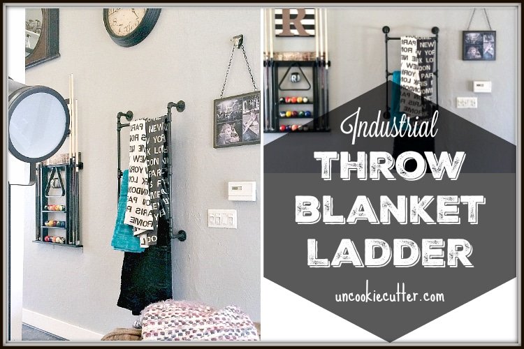 DIY Industrial Throw Blanket Ladder