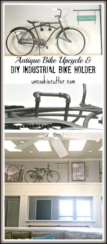 Antique Bike Upcycle and DIY Industrial Bike Holder - UncookieCutter.com