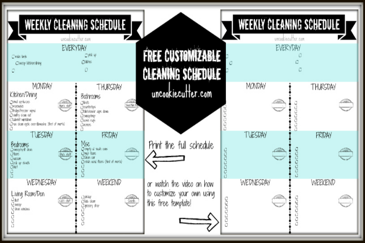 Free Customizable Cleaning Schedule with video tutorials on how to make your own at Uncookiecutter.com!