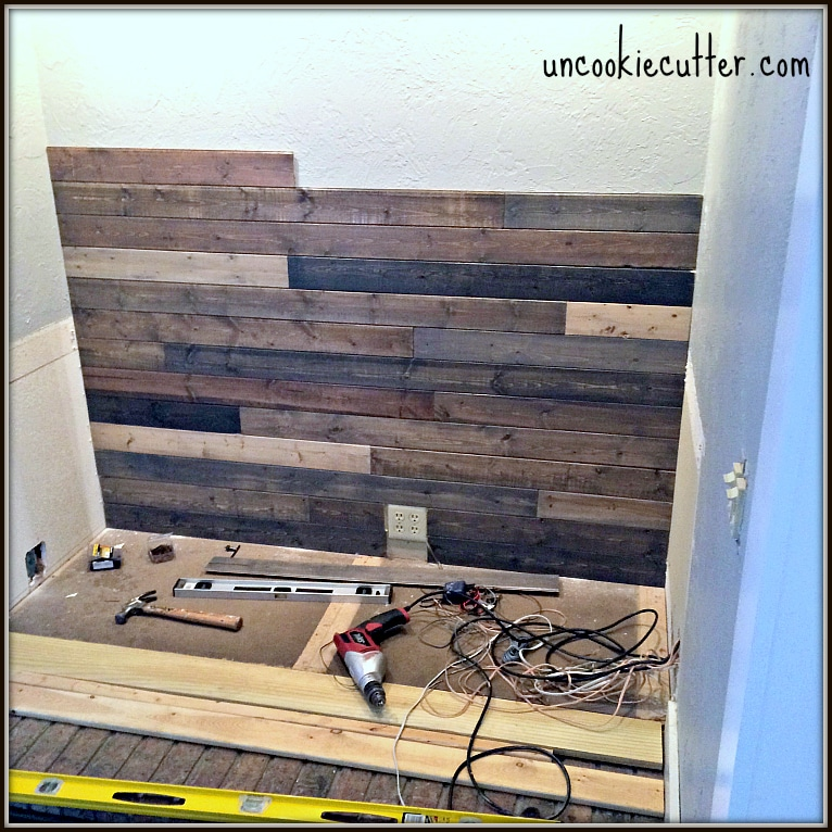 ideas to make a garage a family room - Mixed Wood Wall Easy & Cheap DIY Uncookie Cutter