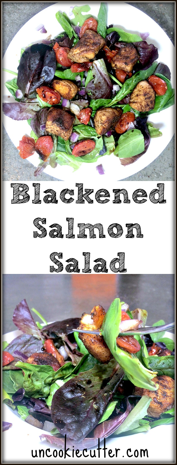 Blackened Salmon BLT Salad - this weeks featured pick by at the You Link It, We Make It Link Party, every Wed - Sat at KnockitOffKim.com and UncookieCutter.com