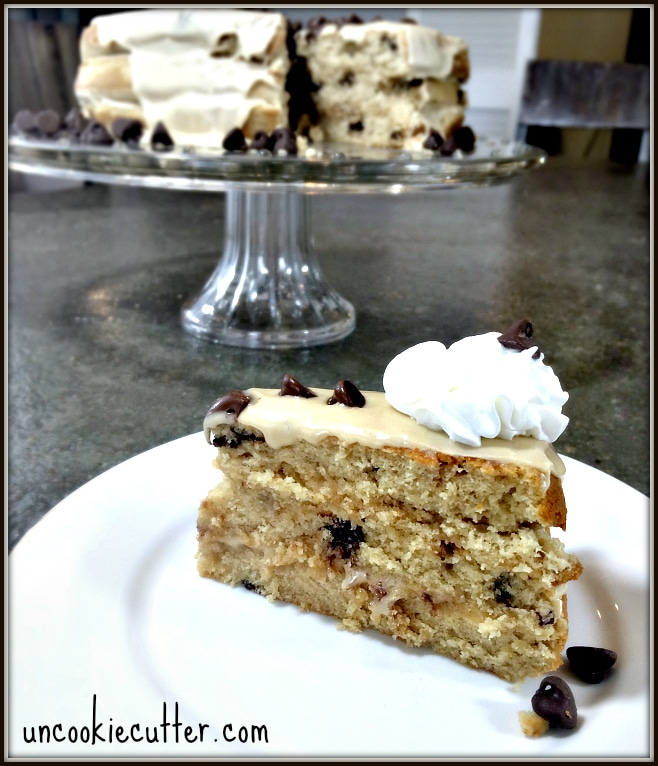 Chocolate Chip Peanut Butter Cake - This weeks feature at the You Link It, We Make It Link party. Come link up every Wed - Sat at KnockItOffKim.com and UncookieCutter.com
