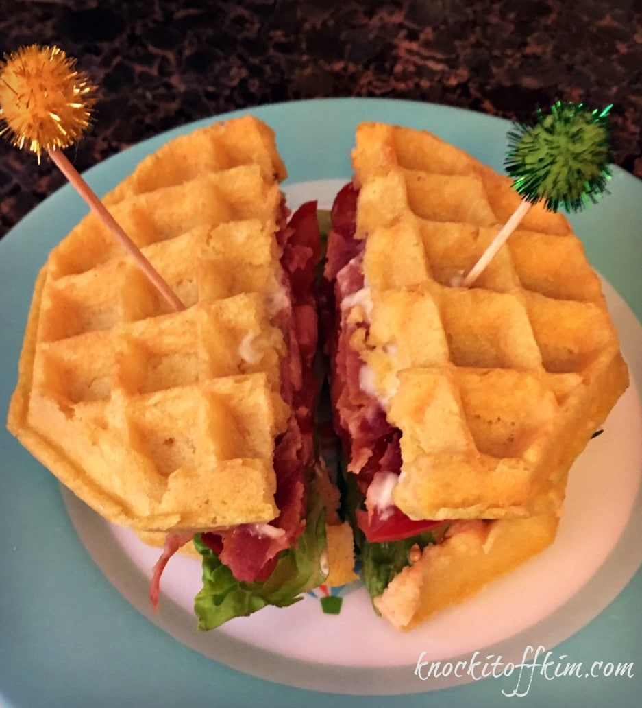 BLT Waffle Sandwich - This weeks feature at the You Link It, We Make It Link party at Knock It Off Kim and Uncookie Cutter every Wed - Sat.