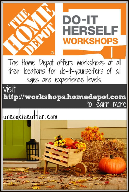 The Home Depot DIH workshops - register to learn to make this Rustic Wheelbarrow! Find local classes here - http://thd.co/2bOQZIu UncookieCutter.com