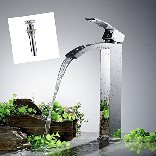Green spring Tall Spout Brass Bathroom Sink Vessel Faucet with Overflow PopUp Drain - Bath Shopping Guide - Hall Bath <akeover - UncookieCutter.com