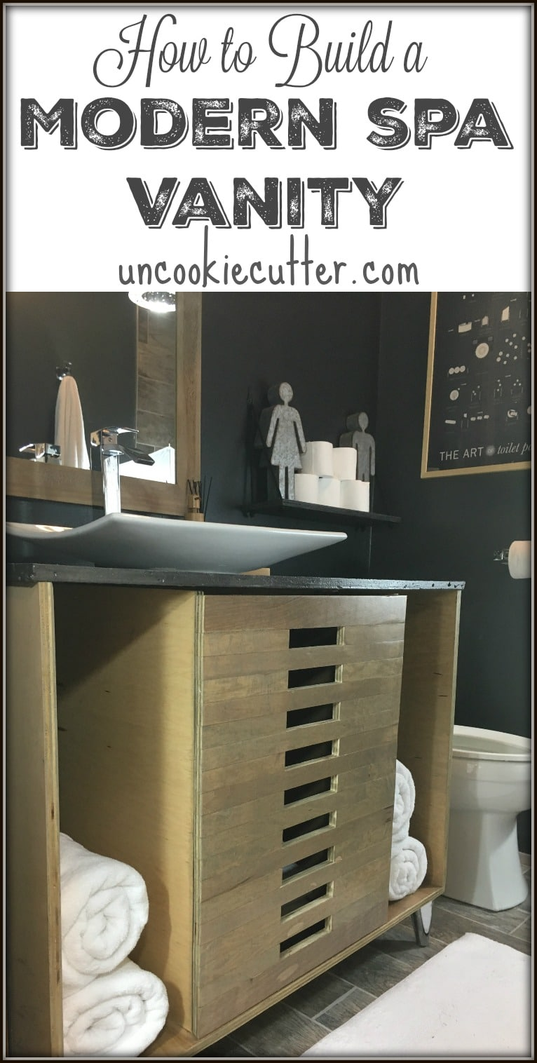 How I built my Modern Vanity for our recent spa bathroom makeover. UncookieCutter.com