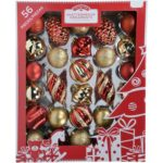 Holiday Time 60mm Christmas Ornaments Traditional Shatterproff, Set of 56