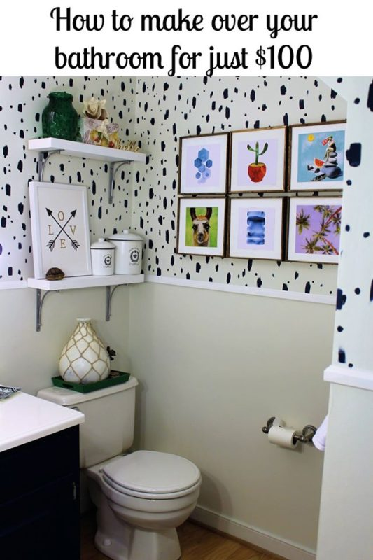 How to Make Over Your Bathroom for Just $100 - Knock if Off Kim - Saturday Showcase - January 2017