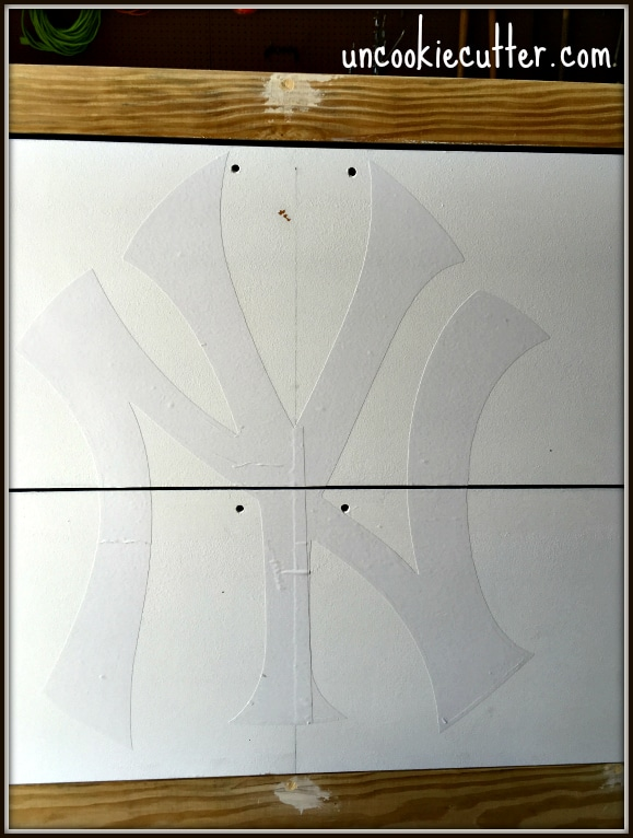 How I made over this old, ugly 80s file cabinet for the ultimate Yankees fan - UncookieCutter.com