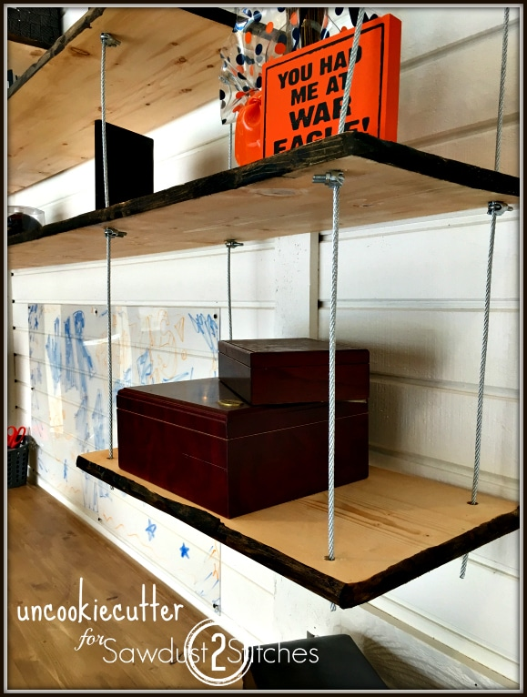 Galvanized Wire Hanging Shelves with Faux Live Edge Wood - Uncookie Cutter for Sawdust 2 Stitches