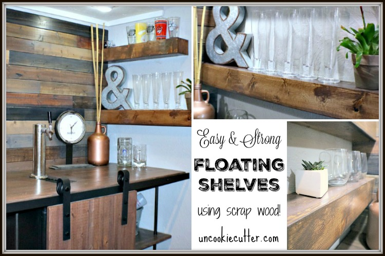 Floating Shelves DIY for the Home Bar Nook