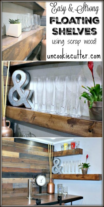 Easy and strong DIY floating shelves - UncookieCutter.com