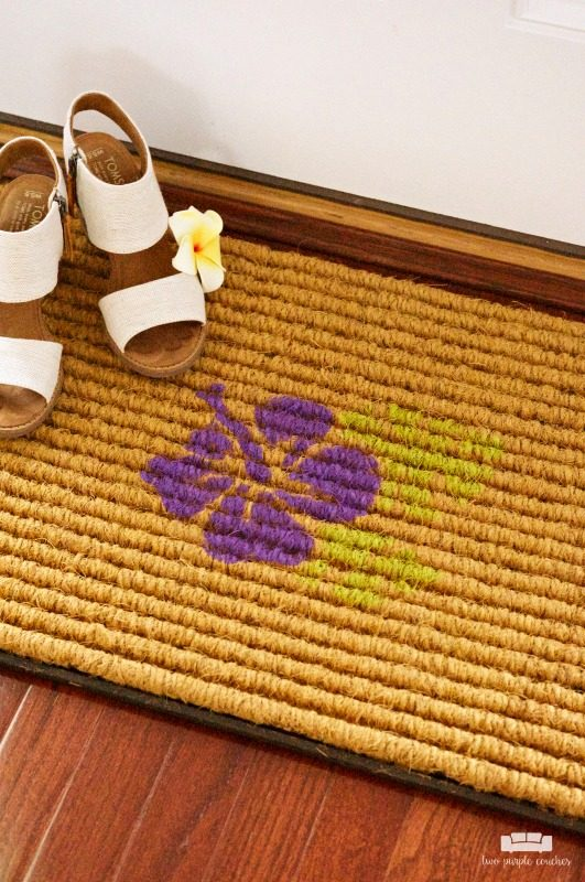 Two Purple Couches - DIY Stenciled Doorstop